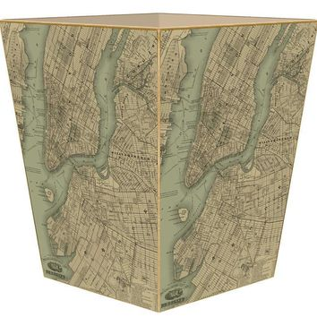Brooklyn New York Antique Map Wastepaper Basket