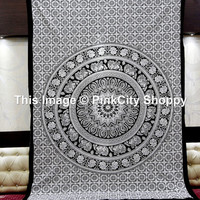 Large Indian Mandala tapestries Elephant Mandala tapestries white Black Mandala tapestries Bohemian Tapestries wall Hanging Beach Blanket