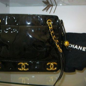ONETOW NEW CHANEL BAG HANDBAG BLACK RUNWAY PATENT LEATHER SAC CHRISTMAS GIFT UNIQUE