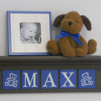 """Teddy Bear Nursery Decor 24"""" Shelf With 5 Letter Wooden Tiles Painted Blue and Brown - MAX with Teddy Bear"""