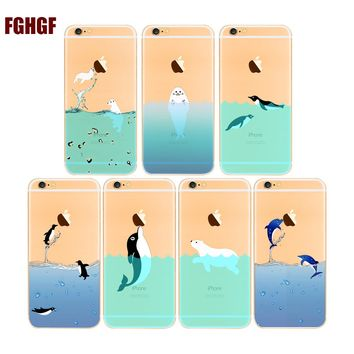Cartoon Adorable Dolphins/Penguin/Polar bear for phone case hard plastic cover For apple iphone 5 5s 6 6s 7 8 7plus x case