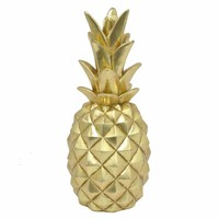 67832 Resin Pineapple Decoration- Large- Gold- Benzara