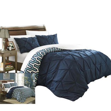 Tirina Talia Pintuck 3 Piece Reversible Duvet Cover Set King & Queen Navy