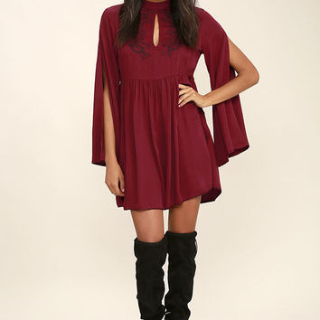 Mink Pink Valley of the Vine Wine Red Embroidered Dress