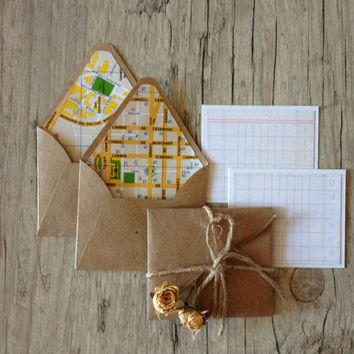 Crafted map envelopes with cards - set of 5 small envelopes - map of Barcelona Spain - travel envelopes - grey rustic-europeanstreetteam