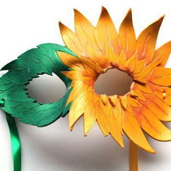 Sunflower Mask  Handmade Leather Mask by OakMyth on Etsy