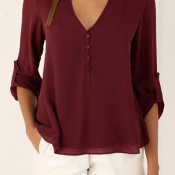 Burgundy V-neck Button Detail Blouse