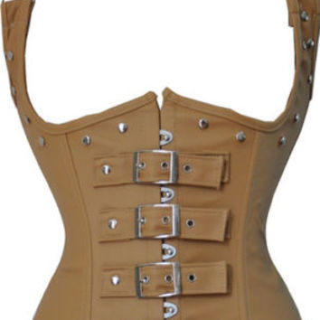 Steampunk Punk Faux Leather Underbust Corset Waist Training Cincher Body Shaper