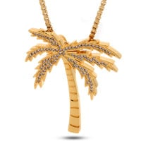 14K Gold BLVD Supply Palm Tree Necklace