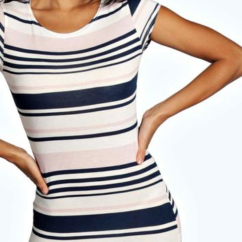 Arianna Stripe Midi Bodycon Dress