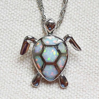 White Fire Opal Stone Sea Turtle Pendant Necklace