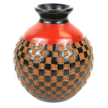 6 inch Traditional Nicaraguan Pottery Vase Checkers Red & Black