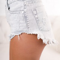 Florida High Rise Distressed Shorts (Ice Grey)