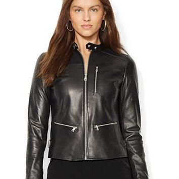 Lauren Ralph Lauren Petite Leather Biker Jacket