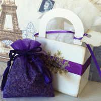 Lavender Gift Box, 6 Small Favor Boxes with Lavender Sachet and tiny tag.