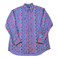 Vintage 90s Wrangler Navajo Print Button up Shirt Made in USA Mens Size XL