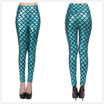 New arrive 2014 Olso mermaid leggings Scales sexy women's clothing casual leggings high waist high quality width waist fashion