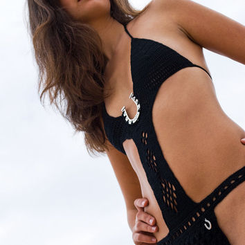 "Black swimsuit, crochet monokini, exotic monokini, one piece swimsuit, swimwear, ""horseshoe"" black, honeymoon. SexyCrochet design."