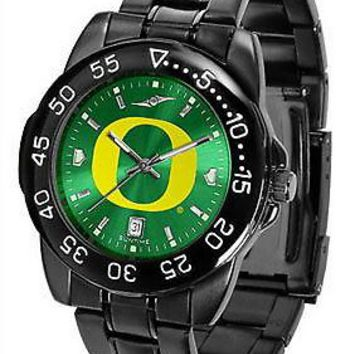 Oregon Ducks Mens Watch Fantom Gunmetal Anochrome Green Dial