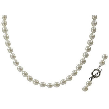 "18"" 7-7.5mm Freshwater Pearl Necklace Sterling Silver MOM Toggle"
