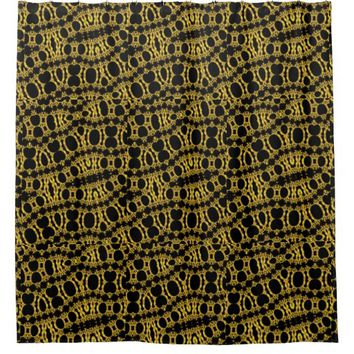 Black and Gold Coral Filagree Abstract