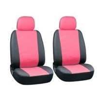 Oxgord Leatherette Bucket Seat Cover Set for Car/Truck/Van/SUV, Airbag Compatible, Pink & Black