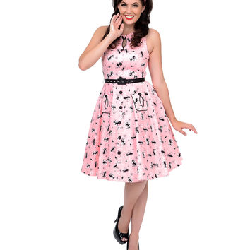 1950s Style Pink Retro Kitty Cut Out Flare Dress