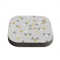 "Nick Atkinson ""Triangle Love"" Gray Gold Coasters (Set of 4)"