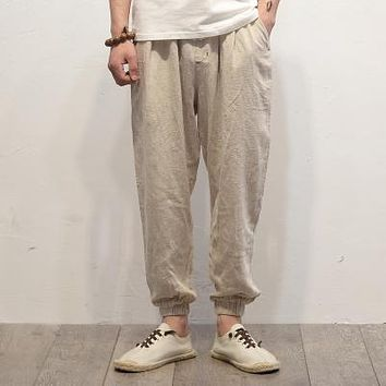 Plus Size Cotton Linen Harem Pants Mens Jogger Pants New Male Casual Track Pants