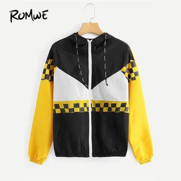 Trendy ROMWE Color Block Drawstring Plaid Jacket Women  Spring Autumn Hooded Casual Clothing Female Multicolor Sporty Coat AT_94_13