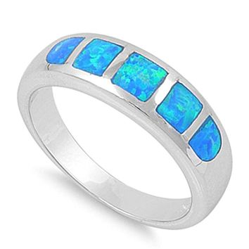 5 Stone Blue Opal Inlay Sterling Silver Band
