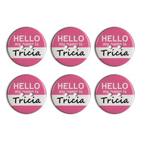 Tricia Hello My Name Is Plastic Resin Button Set of 6