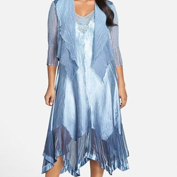 Plus Size Women's Komarov Ombre Charmeuse Handkerchief Hem Dress with Chiffon Jacket,