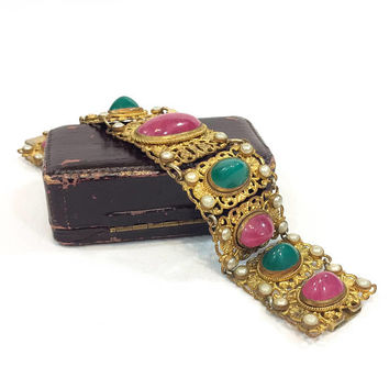 Austro Hungarian Gold Filigree Bracelet, Pink Green Art Glass Cabs Seed Pearls, Floral Filigree, Vintage Austrian Art Deco Jewelry, AS IS