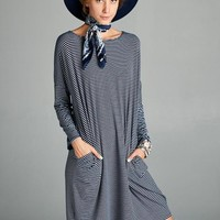 Loose Fit Long Sleeve Striped Tunic Dress