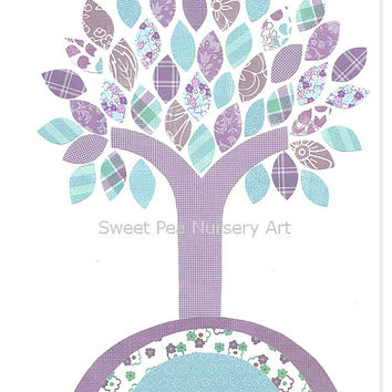 Aqua and Purple Nursery Prints, Birds, from SweetPeaNurseryArt on