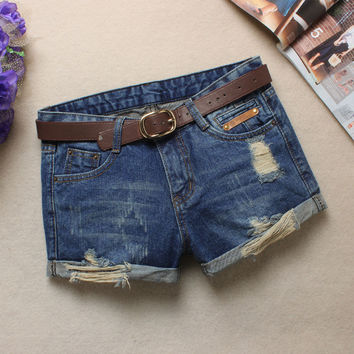 Summer Korean Women's Fashion With Pocket Blue Cats Denim Shorts Jeans [4919971524]