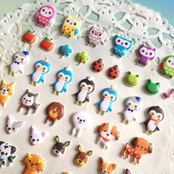 Cute pet sticker farm animal sticker Forest Garden sticker owl dog bear penguin rabbit animal party time kids animal party gift scrapbook