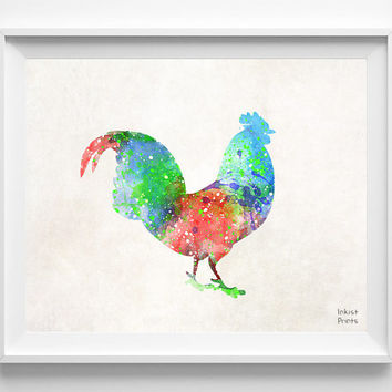 Rooster Watercolor, Chicken Print, Animal Painting, Poster, Nursery, Baby Room ,Illustration Art, Watercolour, Wall, Home Decor [NO 395]