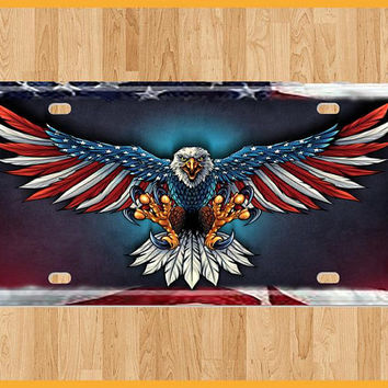 Postage Paid | Eagle Wings | American Flag | Patriotic | Fathers Day Gift | Veteran Gift | Front License Plate | American Symbol