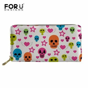 Wallet Long Purse Wallet Cool Skull PU Leather Wallet Men Zipper Purse Wallet Leather Purse