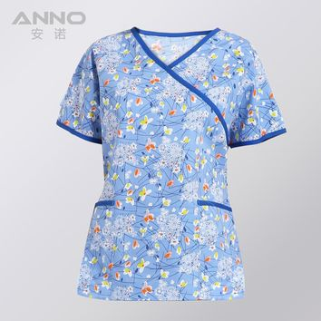 Short Sleeves Unisex Clinical Hospital Medical uniforms Nurse Suit Dental Hygiene Clinic Scrubs TOP