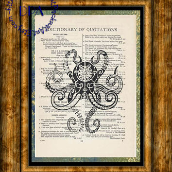 Abstract Totem Octopus Art - Vintage Dictionary Page Art Print Upcycled Page Print, Sea Life Art Print