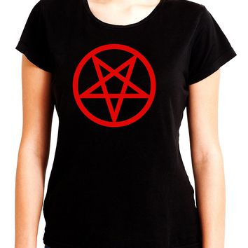 Red Inverted Pentagram Women's Babydoll Shirt Top Occult Clothing