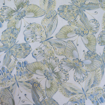 Pale Blue Shimmer Butterfly Print Pure Cotton Fabric--One Yard