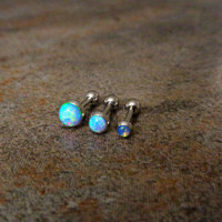 "Fire Opal Helix Cartilage Earrings, Light Blue Fire, 5/16"", Surgical Steel Piercing Jewelry 16g 1.2mm"