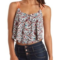 Strappy Button-Up Floral Print Crop Top