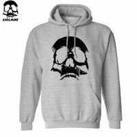 Thick Material cotton Blend SKULL print men Hoodies with hat fleece casual loose