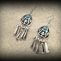 Bohemian silver earring-dangle earring-tribal earring-gypsy earring-filigree earring-ethnic earring-enamel earring-turquoise earring
