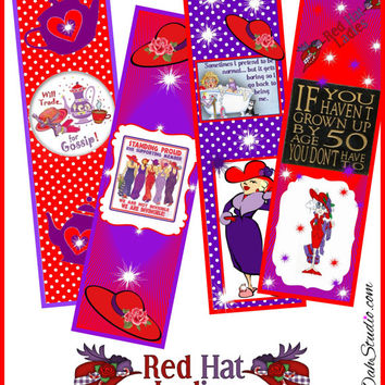 Personalized Custom RED HAT Sisters Purple and Red Society Bookmarks U Print DIY